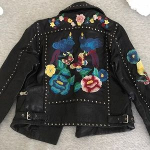 Embroidered studded REAL leather Moto jacket